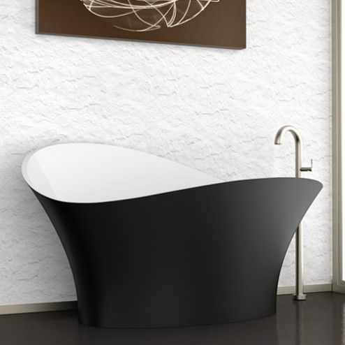 Flower Style Black Vasca da bagno nera opaca con interno bianco lucido.