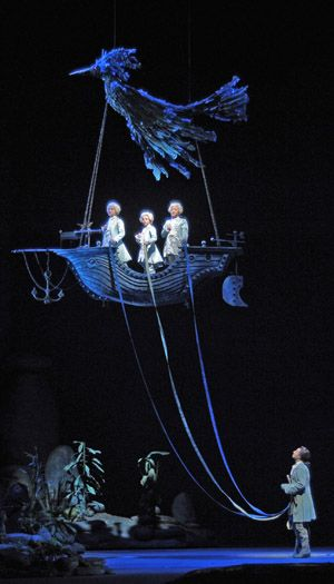 Charles Castronovo and Three Boys Magic Flute c Dan Rest Lyric Opera Chicago