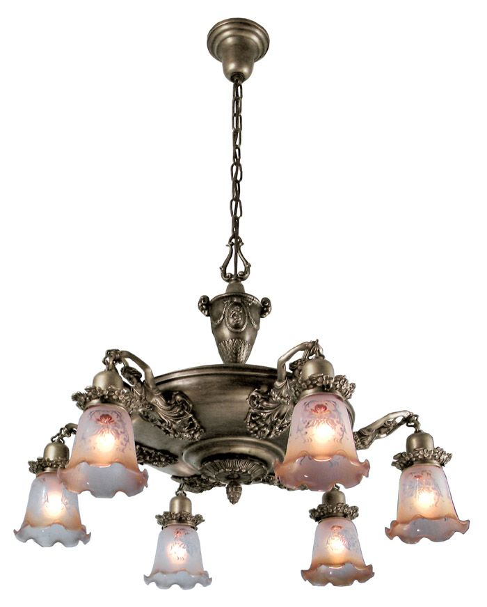 """Figural Victorian Pan Light With Maidens (335-EPC-AC):  Nice! For every 2,000 plain pan fixtures that were made in 1900, only one of these was made. The antique examples of these demand very substantial prices because they are so scarce. Extra large pan light with lady arm detail has a spread of 30"""" with shades shown.  http://www.vintagehardware.com/proddetail.php?prod=25439#"""