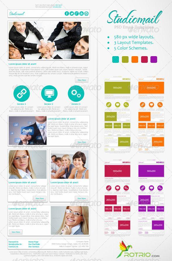 Preview studiomail psdjpg 590x893 newsletter templates pinterest business women adobe for Adobe newsletter templates