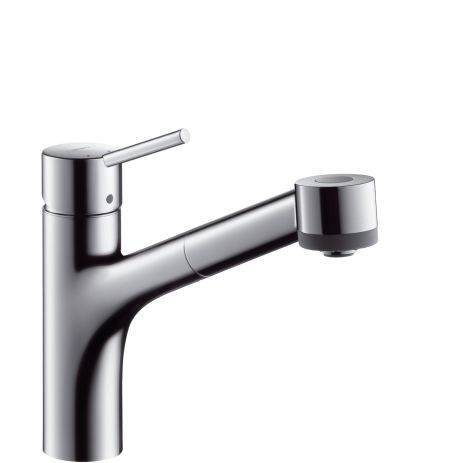 Hansgrohe Talis S single lever kitchen mixer tap with pull-out spray. We installed this tap in the kitchen of our last house and I was really pleased with it. It's a good looking tap, in my opinion, and can be bought at a reasonable price.