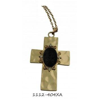 Αλυσίδα Σταυρός με πέτρα Λάβα