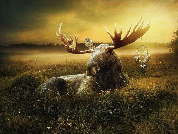 Moose artwork eland afdrukken Dromenvanger kunst Indiaanse