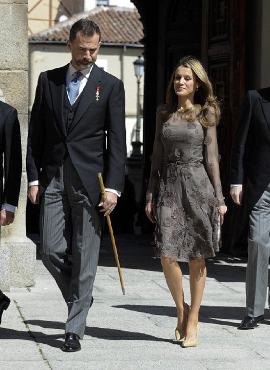 Prince Felipe of Spain (L) and Princess Letizia of Spain attend Cervantes Awards Ceremony at Alcala de Henares University on 23 April 2013