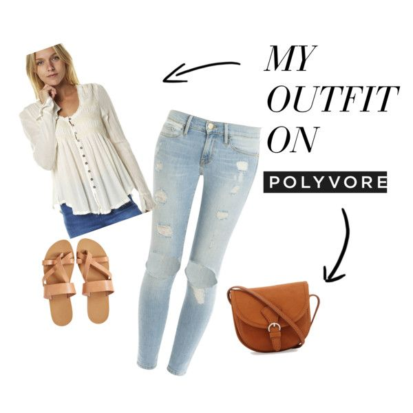 light jeans outfit by psjeanne on Polyvore featuring Free People and Frame Denim