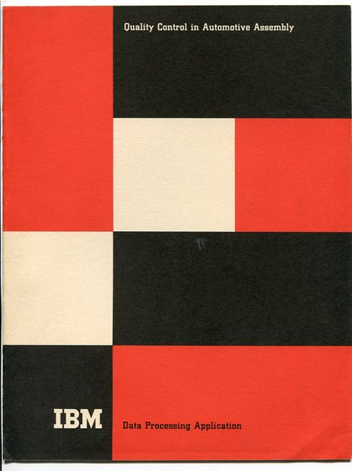 how do you not love paul rand? love this color combo, soft reddish orange, the graphic boxes.