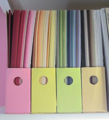 How to make a magazine holder to store cardstock (I use USPS Priority Mail boxes - great way to recycle the boxes) - bjl