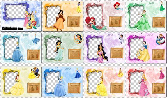 Calendarios 2012 de Princesas Disney