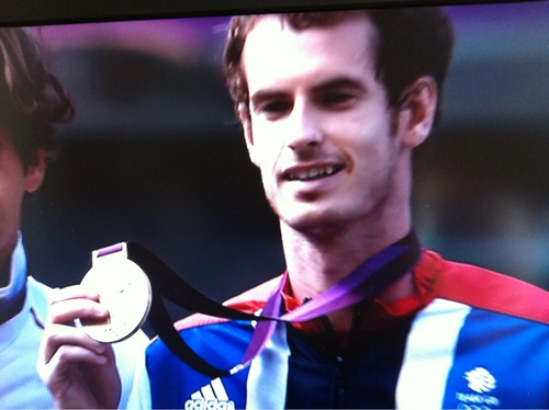 Photo No 218 - Gold for Andy (Aug 5th)    Yup, I've been watching the Olympics again and after a thrilling athletics 3 Golds (Congrats Jess, Mo and Greg) yesterday pleased to see Andy get Gold in the Tennis. I was flicking between that and the gymnastics and within the space of about five minutes saw us get one of each medal with Louis and Max getting Silver and Bronze in the pommel horse. Team GB are really doing us proud.