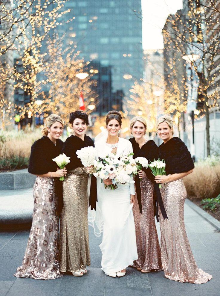Rose gold bridesmaids, fur stoles, glam girls, sequins // Lauren Fair Photography