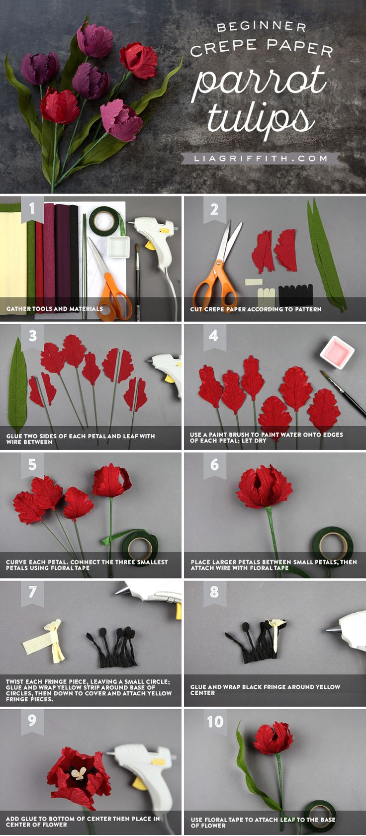 DIY crepe paper parrot tulips that are great for beginners! Download our templates and craft along with our step-by-step photo tutorial today...