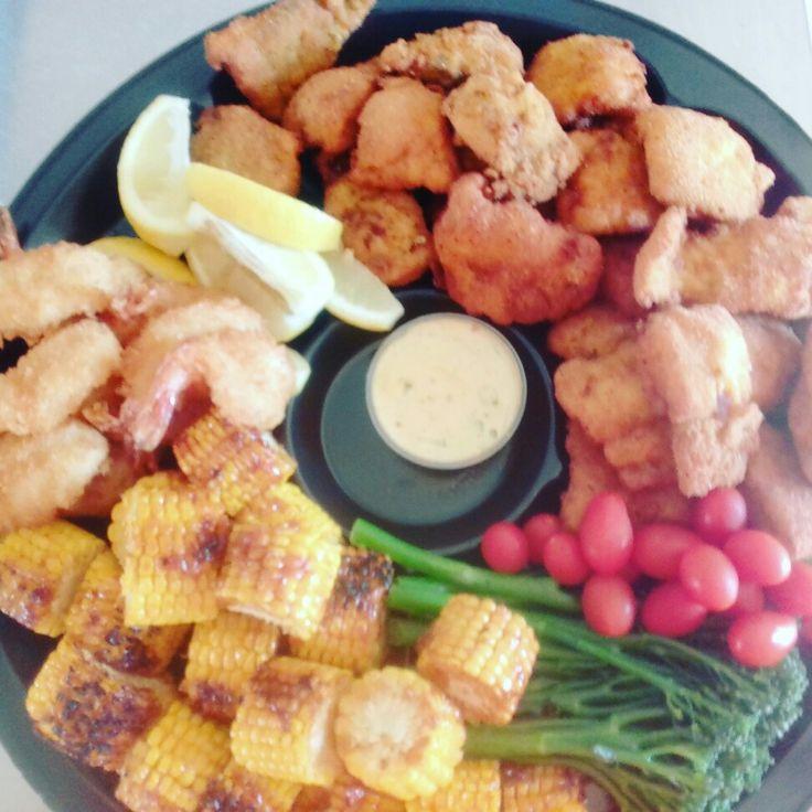 Ilki - Crumbed hake, crimbed prawns, corn bites. Food done chic!