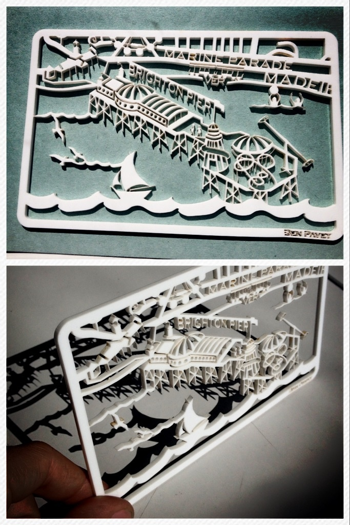 Laser cut acrylic map section from the Brighton map by Ben Pavey