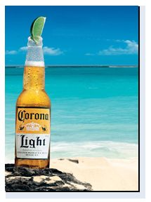 a corona light on the beach...