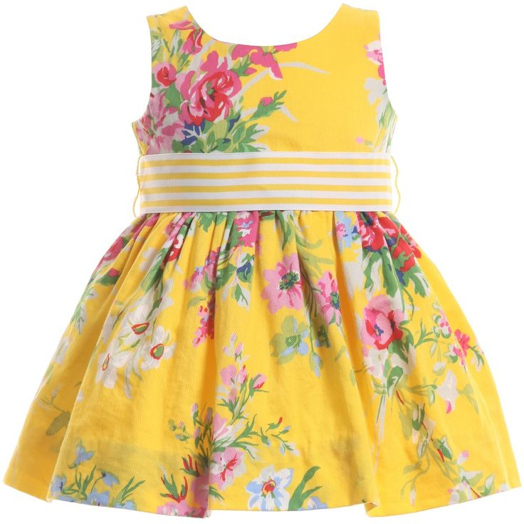 Ralph Lauren Baby Girls Yellow Floral Dress with Knickers at Childrensalon.com