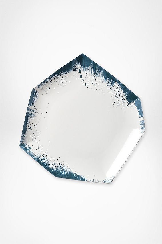DVF Brushstroke 7 sided asymmetrical Dinner Plate. Very eye catching
