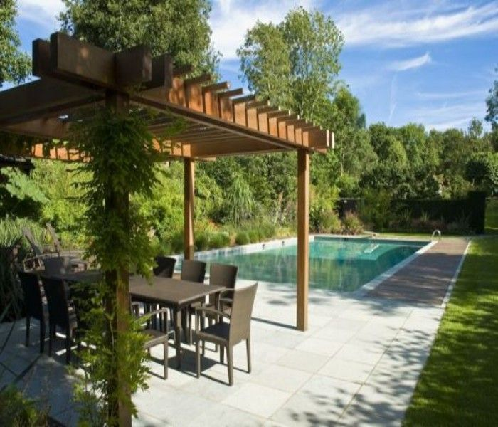 wooden deck pergola for swimming pool