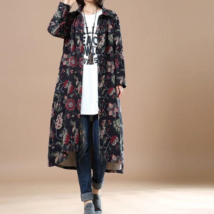 Long Floral Print Cotton Coat