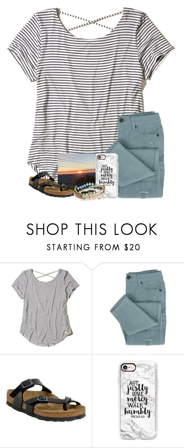 """""""The sunset was gorgeous last night!"""" by paprep ❤ liked on Polyvore featuring Hollister Co., Birkenstock, Casetify and Chloe + Isabel"""