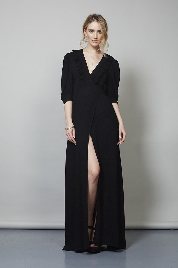 VINTAGE 70'S BLACK OSSIE CLARK WRAP DRESS