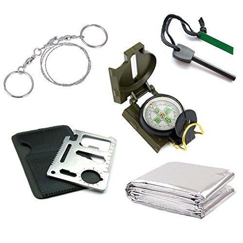 GGG Outdoor Emergency Survival Kit  Thermal Blanket  Larger Size Fire Starter Flint  Wire Saw  Military Compass  Card Knife -- Check out this great product.(This is an Amazon affiliate link)