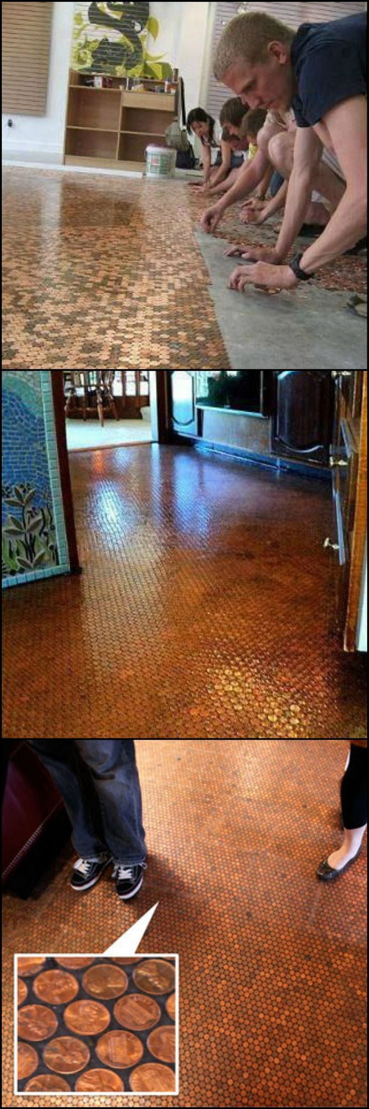 The Penny Floor. I absolutely love penny floors, walls, tables, or accents!