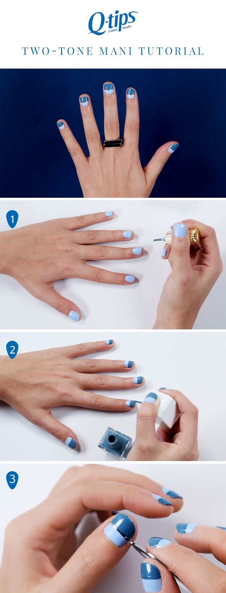 Can't decide between two nail colors? Try this two-tone nail art