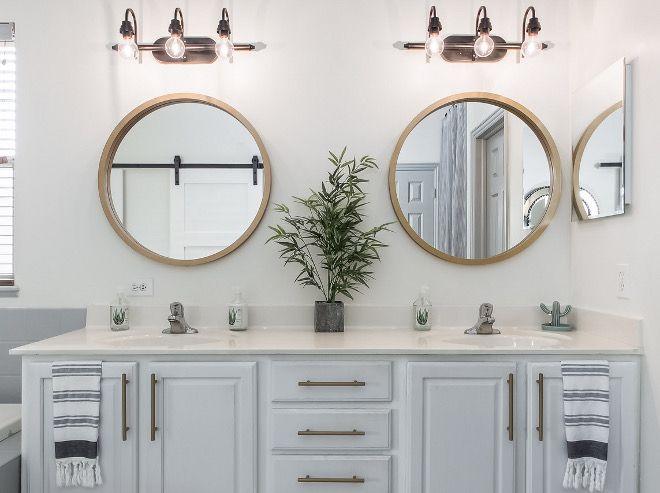 Bathroom Mirror Ideas Round Brass Mirror In Bathroom Bathroommirror Bathroom Mirror Roundbr Round Mirror Bathroom Blue Bathroom Interior Round Brass Mirror