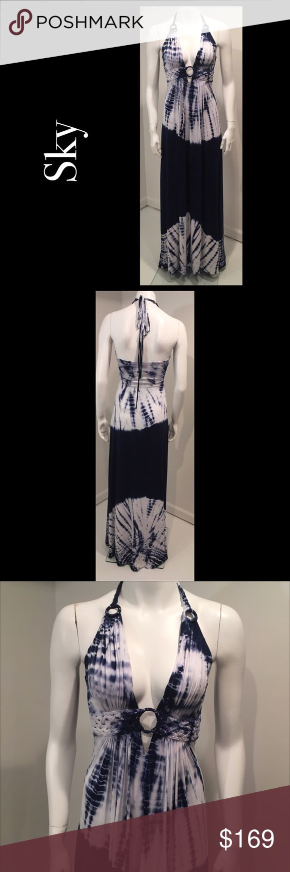 🌸 Sky Maxi Small Halter Dress Navy Blue Tie Dye NWT Sky Maxi Small Halter Dress Navy Blue Tie Dye Drape Front  New with Tags   Drape front halter   Maxi dress   Tie dye navy blue & white   🛍For the best deal, I offer a bundle discount! Please check out my closet for other fabulous items!🛍 Sky Dresses Maxi