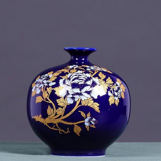 Classical Chinese Style Colored Glaze Lotus Black Ceramic Flower Vases  Desktop Decoration Porcelain Vase