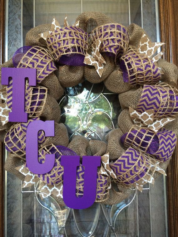 TCU Burlap Wreath By TheWhimsyWreath On Etsy