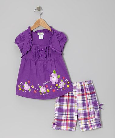 Take a look at this Purple 'Princess' Layered Top & Plaid Shorts - Toddler & Girls by Littoe Potatoes on #zulily today!