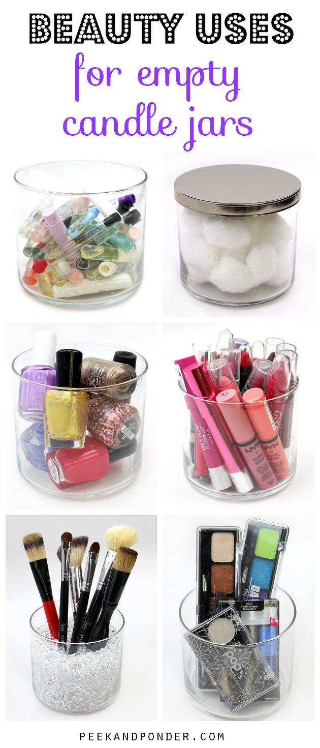 Beauty Uses for Empty Candle Jars - and I just threw 2 of them out in the trash this morning...