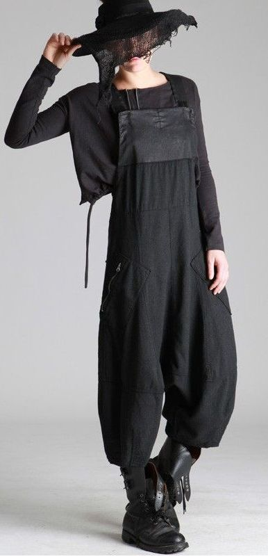 Love everything: boots, overalls, length of pant, monochromatic, pockets, bib, long sleeves underneath