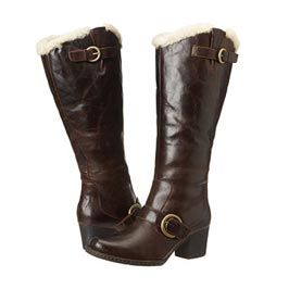 knee-high dark brown boots with buckles
