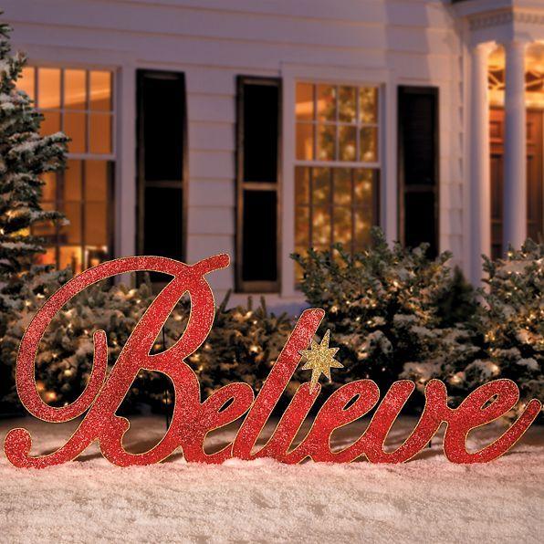 Believe Metal Christmas Yard Decor