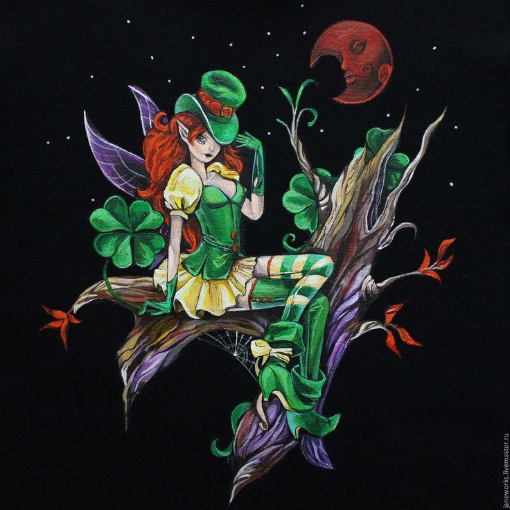 Купить Футболка с росписью Девушка-лепрекон, ирландия, День Святого Патрика - футболка, футболка с рисунком