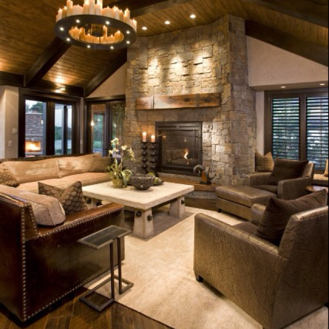 Ideas, Stones Fireplaces, Living Rooms, Livingroom, Dreams House, Family Rooms, High Ceilings, Wood Ceilings, Families Room