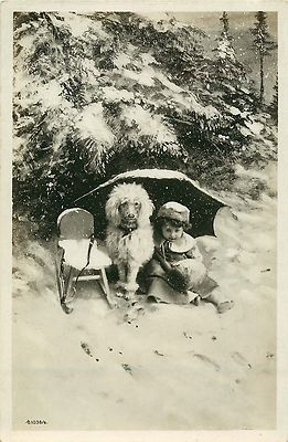 Vintage Photo Postcard Child Poodle Posing in Snow
