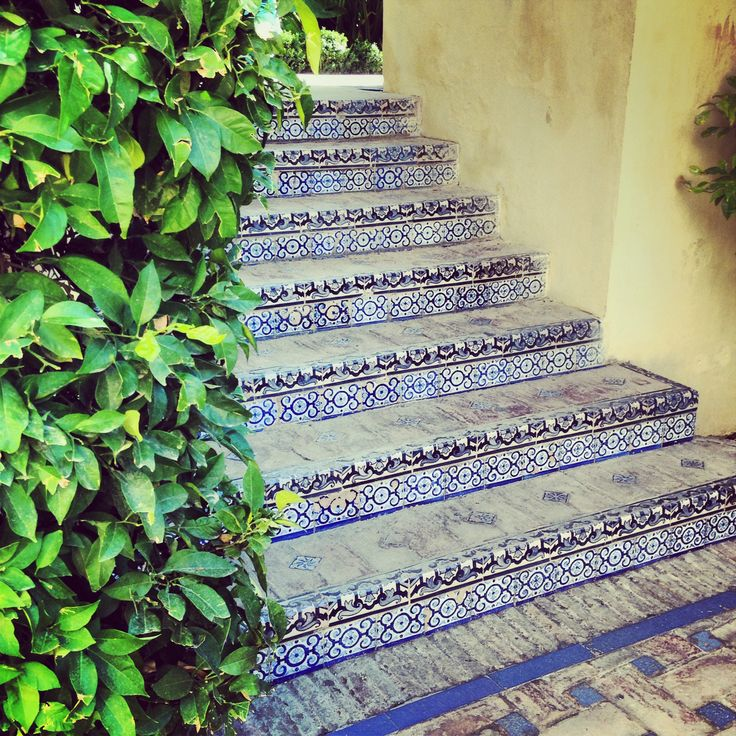 Stairs in the gardens of the Alcazar palace, Seville