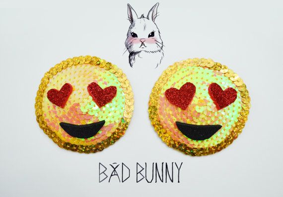 Emoji Heart Eye Smiley Pasties - Burlesque