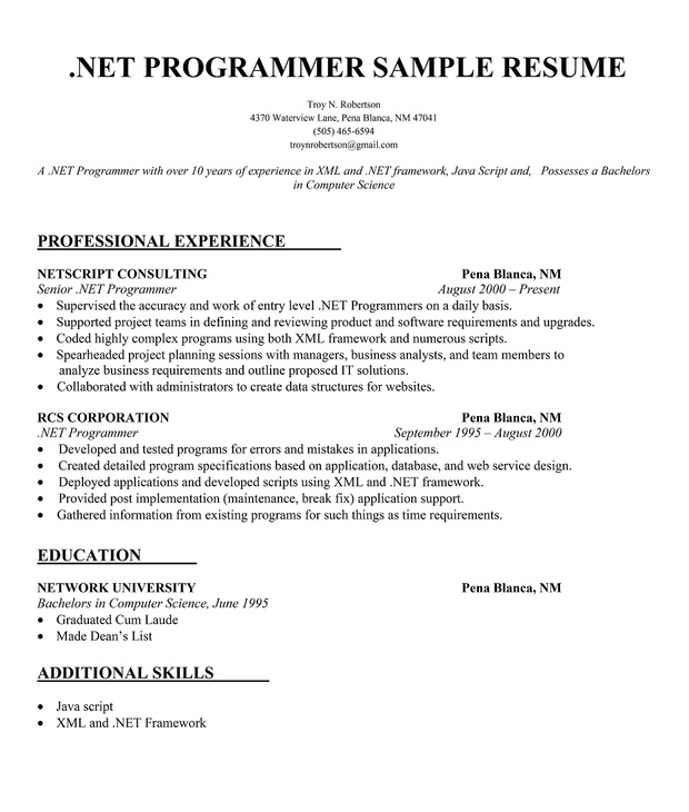 Post Resume Free: .Net Programmer Resume Sample (http://resumecompanion.com