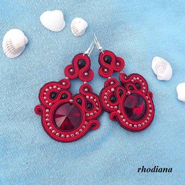 Ohrhänger - Mega Czerwone z Kryształkami kolczyki sutasz - ein Designerstück von rhodiana bei DaWanda