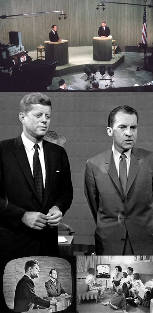 On September 26, 1960 for the first time ever the Presidential debate between Nixon and Kennedy was aired in split screen on television which was watched by over 65 million viewers, and was credited with erasing Richard M. Nixon's lead over John F. Kennedy in the Presidential race!
