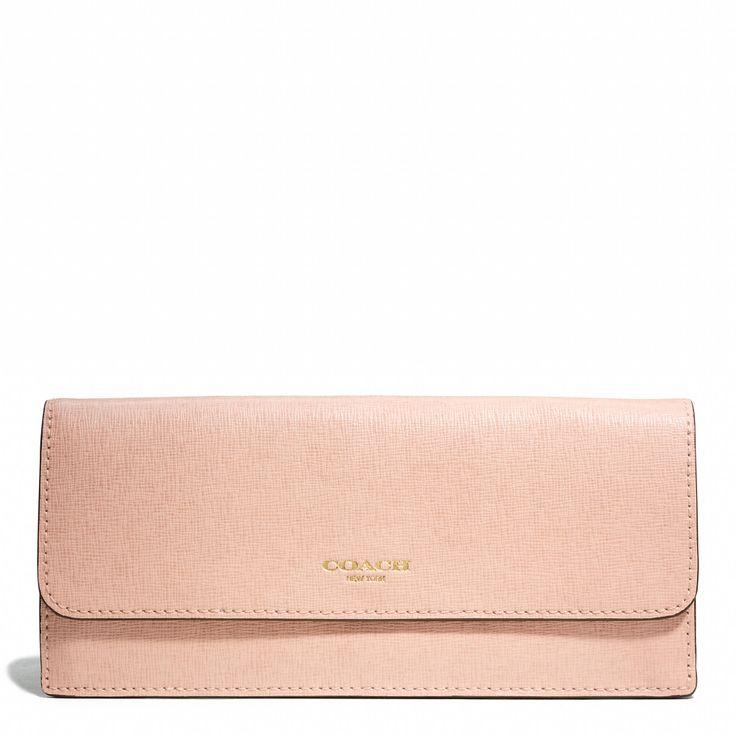 Soft wallet in saffiano leather peach rose - just got this and its perfectly thin enough to rotate in different sized handbags.