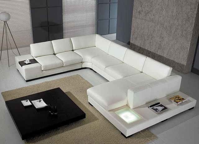 4191 WHITE LEATHER SECTIONAL SOFA  It is extremely spacious, offering plenty of seating room on which you can comfortably entertain many friends. While a light on the side brings brightness to your room, the gorgeous, white leather upholstery makes it absolutely sumptuous to sit on. This sectional sofa is at the height of contemporary chic.  #sofa #sectional #furniture #divarockerglam #white #couch #beautiful #cool #pretty #glamorous #hollywood #la #vintage #rocker #diva #glam