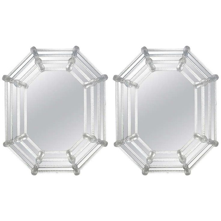 Pair of Octagonal Venetian Glass Mirrors | From a unique collection of antique and modern wall mirrors at https://www.1stdibs.com/furniture/mirrors/wall-mirrors/