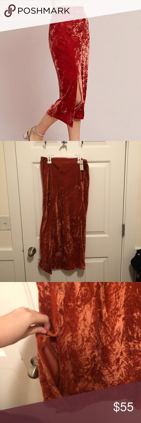 NWT Anthropologie velvet midi skirt NWT Anthropologie velvet midi skirt - by Maeve - burnt orange - side slit - size 8, fits more like a 6 - beautiful velvet material, very fitted in the right areas and flattering Anthropologie Skirts Midi