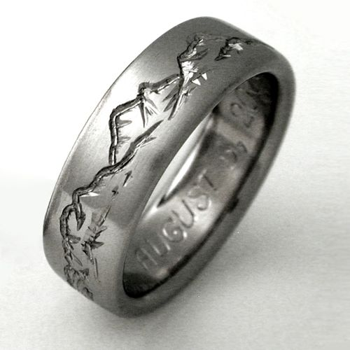 wedding band for men engraved with mountains perfect for a geologist montana 2 titanium ring with mountains - Titanium Wedding Rings For Men