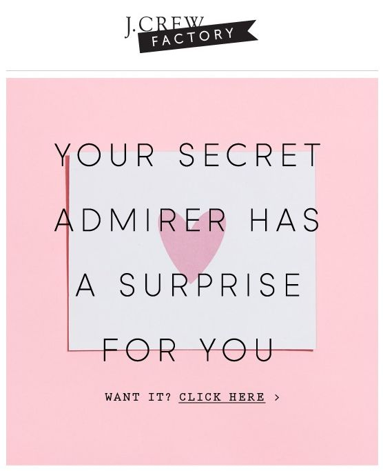 {J.CREW : V-Day} A coupon/deal email for bookings. Clickthrough would lead to booking page with a special offer.